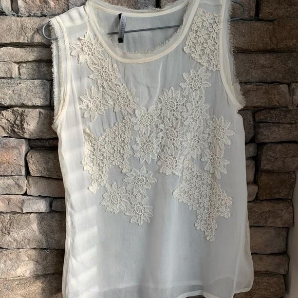 Zara | embroidered chiffon top